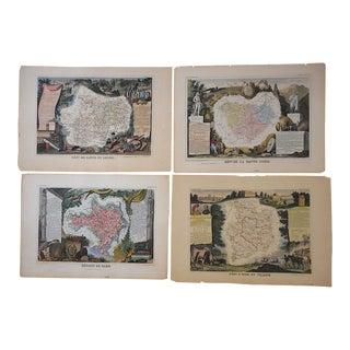 Authentic Antique 19th C. Maps-Provinces of France-Engravings-Set of 4 For Sale