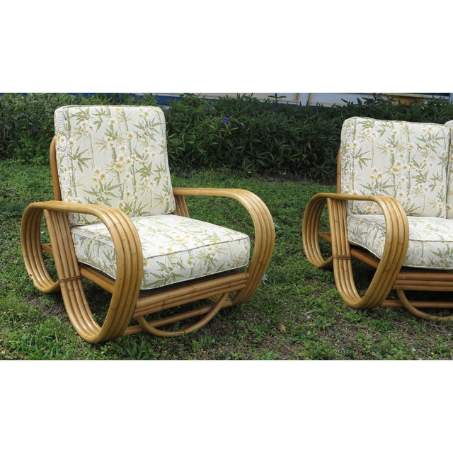 Mid 20th Century Vintage Rattan Living Room Set Reverse Pretzel Sofa & - Set of 3Club Chairs For Sale - Image 5 of 6