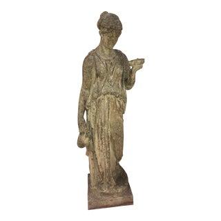 Aged Loggia Garden Lady Statue For Sale