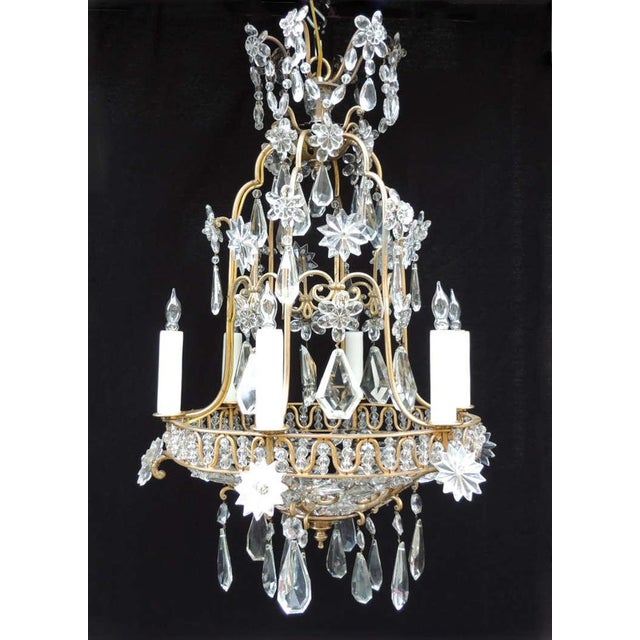 Early 20th C French Bronze Crystal Chandelier, attributed to Maison Baguès For Sale - Image 9 of 10