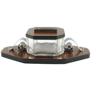 Louis Prodhon 1930s Art Deco Modernist Rosewood Crystal Serving Jar Box For Sale