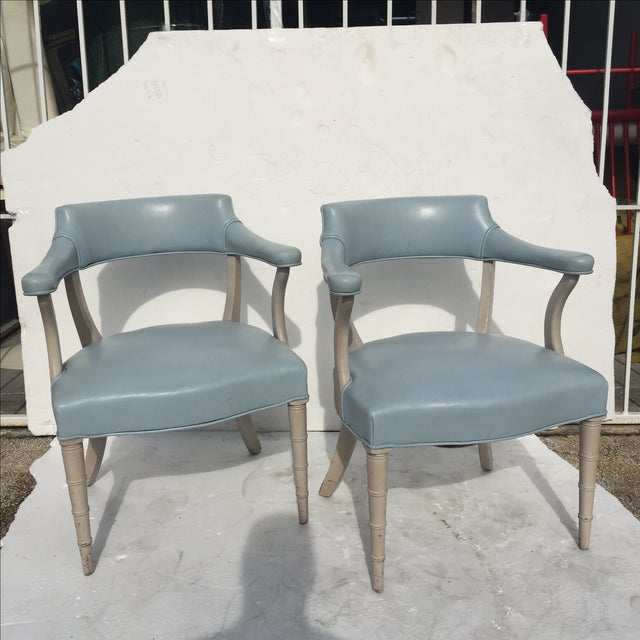 Faux Bamboo Captain's Chairs - A Pair - Image 3 of 10