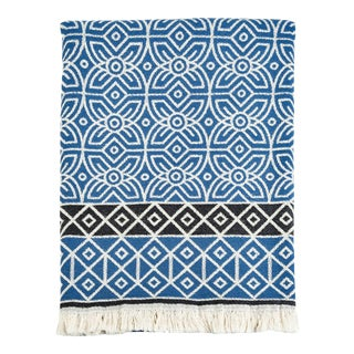 3rd Culture Blue 'Fawahodie' Cotton Turkish Throw Blanket For Sale
