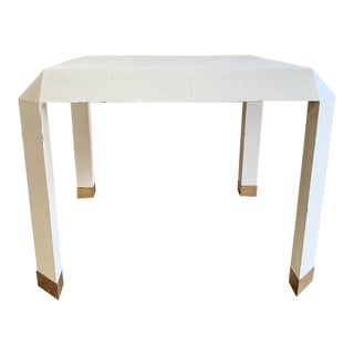 Mid Century Karl Springer Off White Table For Sale