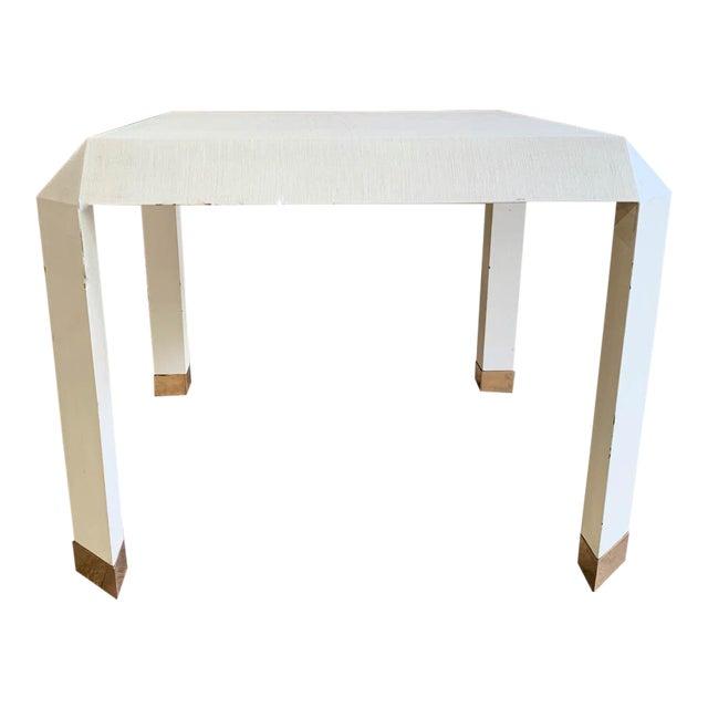 Mid Century Karl Springer Off White Table For Sale