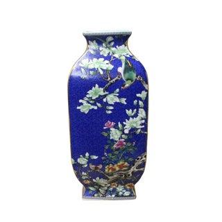 Chinese Bright Blue Square Multi-Color Flower Birds Porcelain Vase
