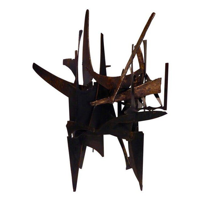 """Black """"Four Corners"""" an Original Contemporary Steel and Bronze Sculpture by American Artist Joey Vaiasuso For Sale - Image 8 of 8"""