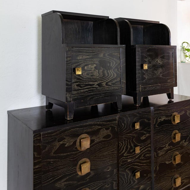Mid Century Nightstands | Black and Brass | Huntley Furniture For Sale - Image 6 of 13
