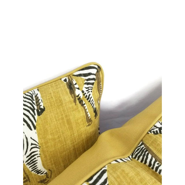 """Home Accents Ronnie Gold Africana in Gold Cotton Zebra Print Pillow Covers - a Pair, 20"""" X 20"""" For Sale - Image 4 of 9"""