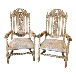 Late 19th Century French Louis XIII Style Carved Oak Arm Chairs - a Pair For Sale