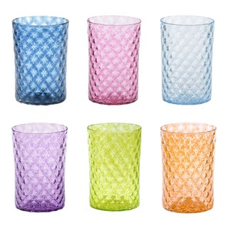 Mandala Drinking Glasses in Multiple Colors - Set of 6 For Sale