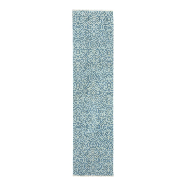 "Kafkaz Peshawar Cyrena Lt. Blue/Lt. Green Wool Runner - 2'5"" X 9'9"" For Sale"