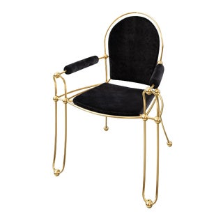 Contemporary Solid Brass Dining Chair with Pony Hide Upholstery For Sale