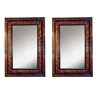 Pair of Faux-Painted Bevelled Mirrors For Sale