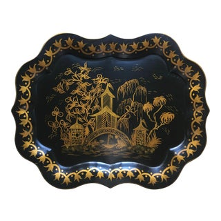 "Vintage Tole Chinoiserie Tray-25""-Signed"