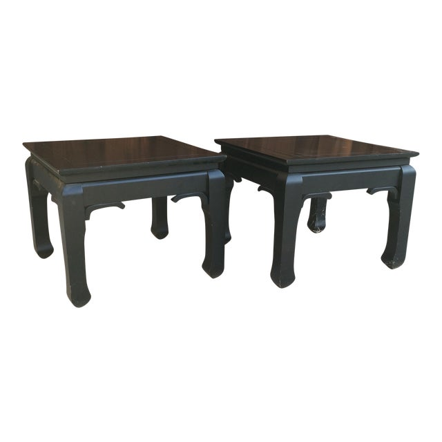 Black Chinoiserie Side Tables - A Pair - Image 1 of 7
