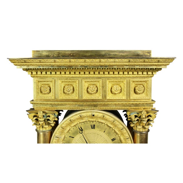 French Empire Bronze Mantle Clock For Sale - Image 4 of 12
