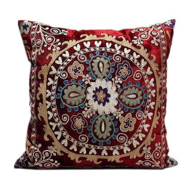 Vintage Velvet Bohemian Pillow With Silk Thread - Image 1 of 1