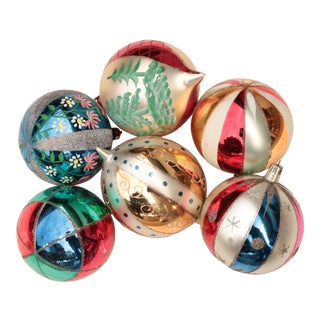 Giant Vintage Blown Glass Ornaments - Set of 6 For Sale