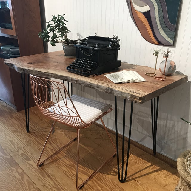Organic Modern Live Edge Maple Slab Desk With Hairpin Legs For Sale - Image 10 of 12
