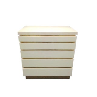 Ivory Lacquered Chest by French Designer Jean Claude Mahey, Circa 1970s For Sale
