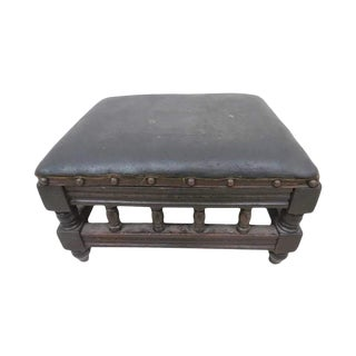 Early 20th Century Antique English H. Howarth Leather Top Footstool For Sale