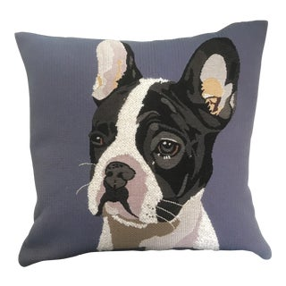 "18"" Rare Jules Pansu Black and Blue French Tapestry Doug Boston Terrier Pillow"