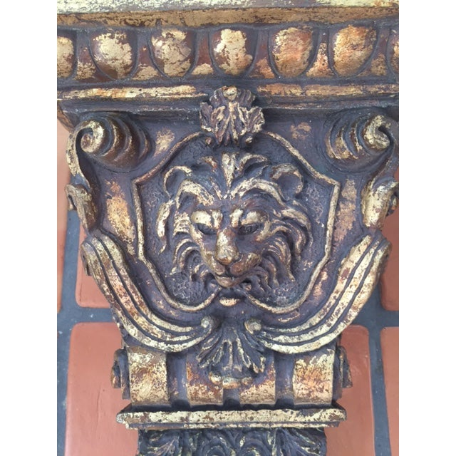 Gold Lion Head Sconces/ Wall Brackets - Pair For Sale - Image 5 of 7