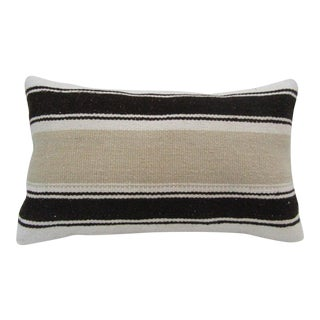 Vintage Handmade Striped Beige Turkish Kilim Pillow Cover For Sale