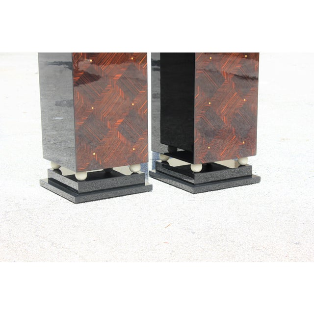 1940s French Art Deco Exotic Macassar Ebony Pedestals M-O-P Accents - a Pair For Sale - Image 9 of 13