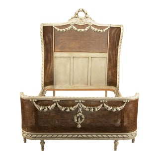 French Louis XVI Style Antique Original Paint and Cane Bed For Sale