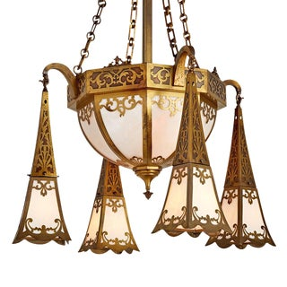Impressive Mission Bowl Chandelier W/ Ornate Brasswork Circa 1915