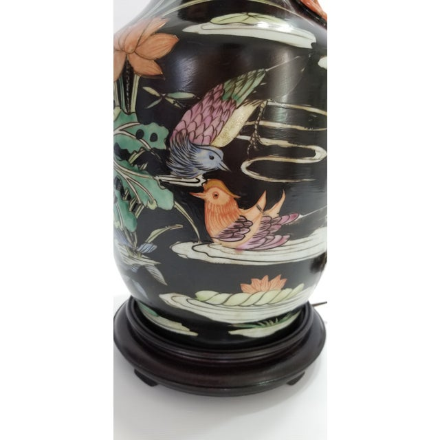 Vintage Chinese Porcelain Famille Noire Lamp For Sale In Miami - Image 6 of 12