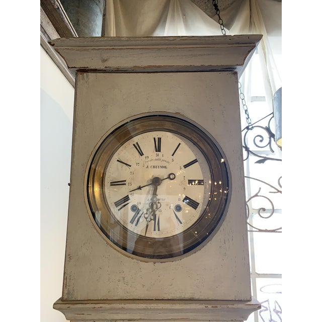 Country Antique French Painted Grandfather Clock For Sale - Image 3 of 13