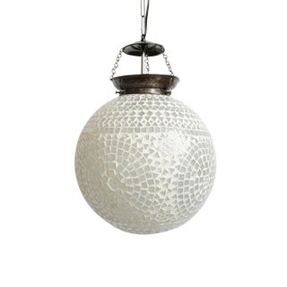 White Mosaic Moon Lantern For Sale