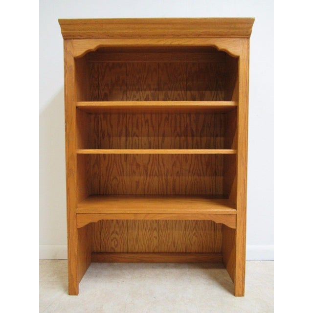 Ethan Allen Chippendale Canterbury Oak Dresser Hutch Top Shelf - Image 2 of 9