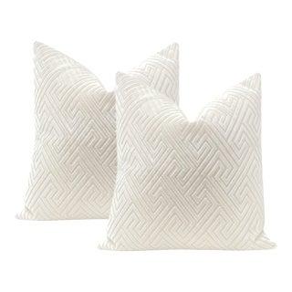 "22"" Alabaster Roman Cut Velvet Pillows - a Pair For Sale"