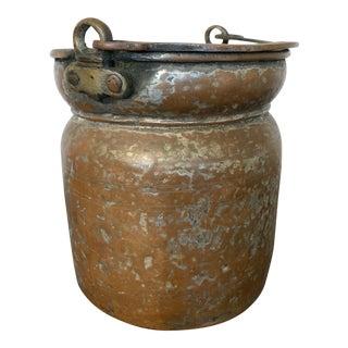 Vintage Hammered Copper Bucket Vessel For Sale