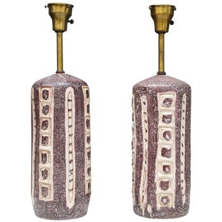 Pair of Stunning Italian Dark Plum Ceramic Table Lamps by Guido Gambone For Sale
