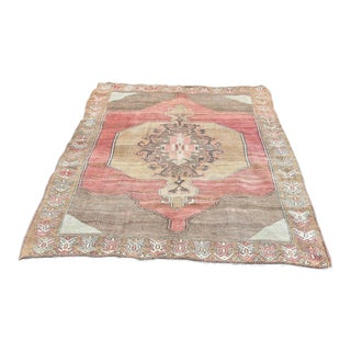 Turkish Handmade Red Floral Design Area Rug - 10′1″ × 6′10″ For Sale