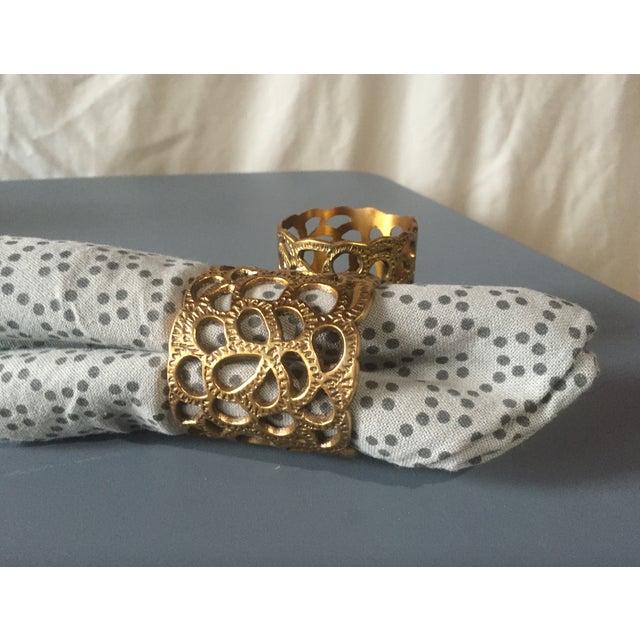 Hollywood Regency Oscar De La Renta Brass Gardenia Napkin Ring- A Pair For Sale - Image 3 of 8