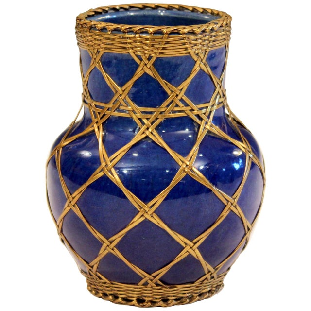 Antique Awaji Pottery Japanese Arts & Crafts Cup Brush Pot Jar Bronze Weave For Sale - Image 12 of 12