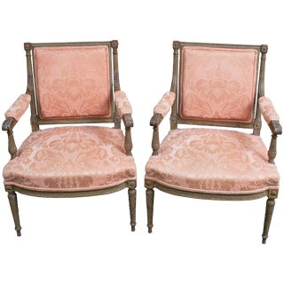 "Pair of Louis XVI Style Fauteuils ""Open Armchairs,"" France, circa 1850 For Sale"