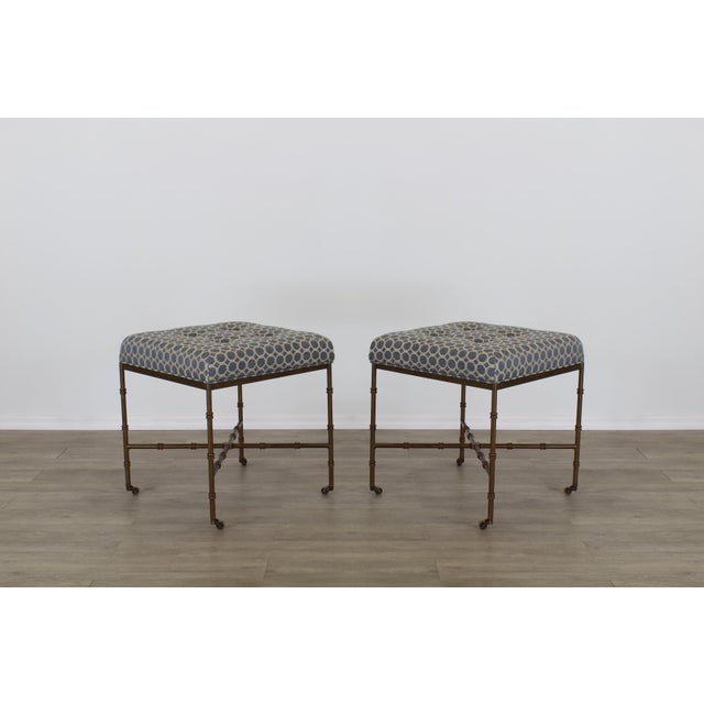 Blue Pair of Mid-Century Metal Benches With Blue Cushions Tops For Sale - Image 8 of 8