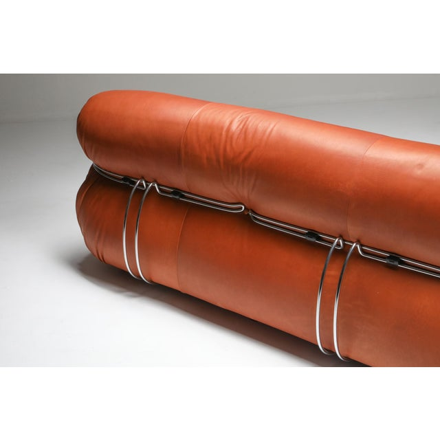 Brown 1970s Cassina Soriana Cognac Leather Sofa by Afra and Tobia Scarpa For Sale - Image 8 of 11