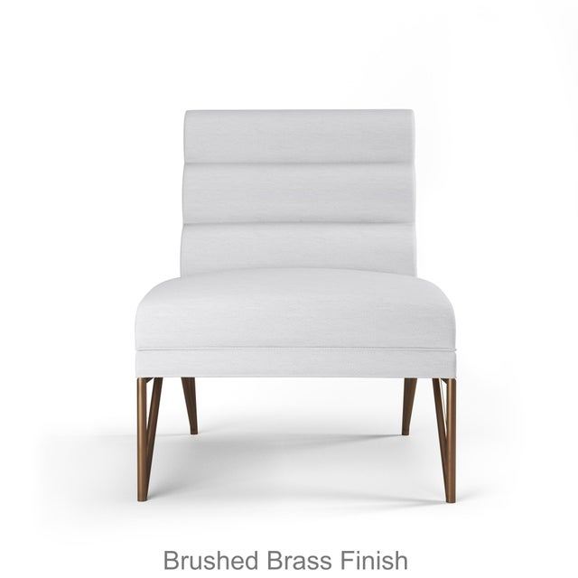 Contemporary Paulo Slipper Chair - Brushed Brass Finish - Optic White Linen For Sale - Image 3 of 5
