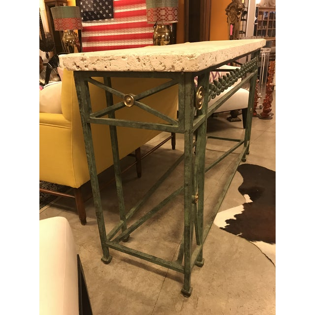 Metal Coral Stone Top, Verdigris Wrought Iron Console, W/ Brass Accents For Sale - Image 7 of 8