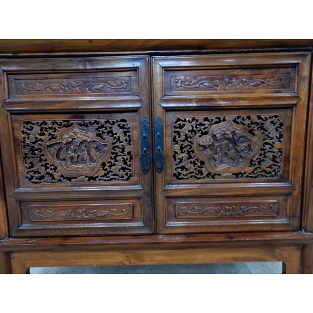 Chinese Carved Teak Wood Cabinet For Sale - Image 10 of 12