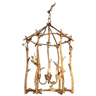 Gilded Metal Faux Bois Birdcage Chandelier For Sale