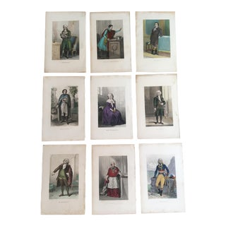 Mid 19th Century Antique Hand-Colored Figures of the French Revolution Steel Engravings - Set of 9 For Sale